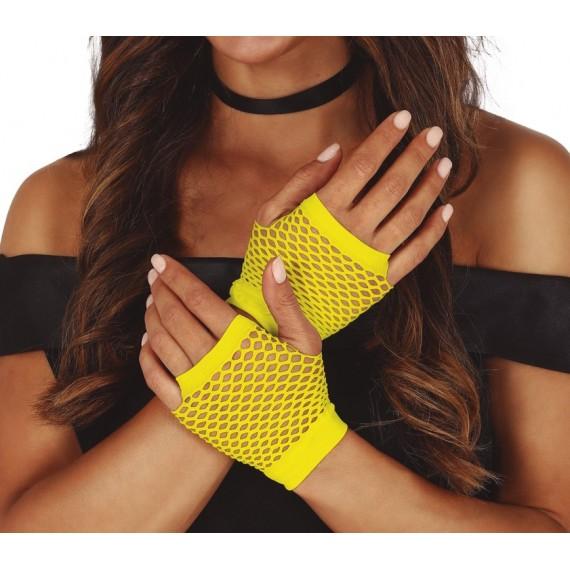 Guantes de Malla de color Amarillo Neón de 11 Centímetros para Adulto