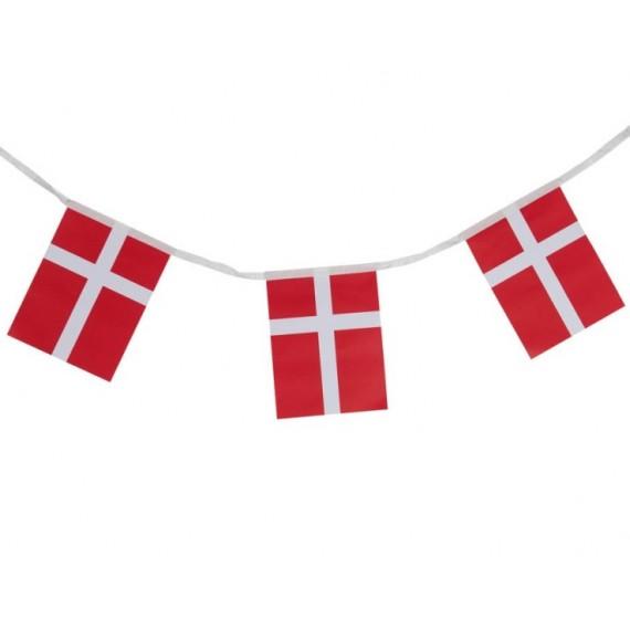 'Guirnalda de Bandera Dinamarca de Plástico de 20 x 30 Centímetros 50 Metros