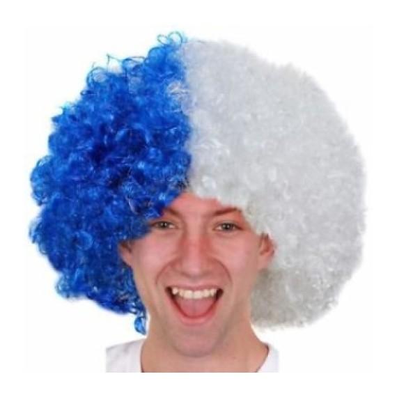 .Peluca Azul y Blanca de Sport's Fan para Adulto