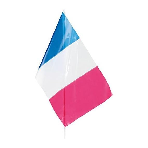 Bandera de Francia de Plástico de 20 x 30 Centímetros con Palo