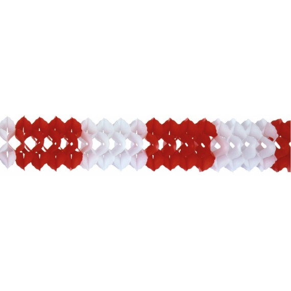 'Guirnalda de Papel de color Rojo y Blanco de 4 Metros