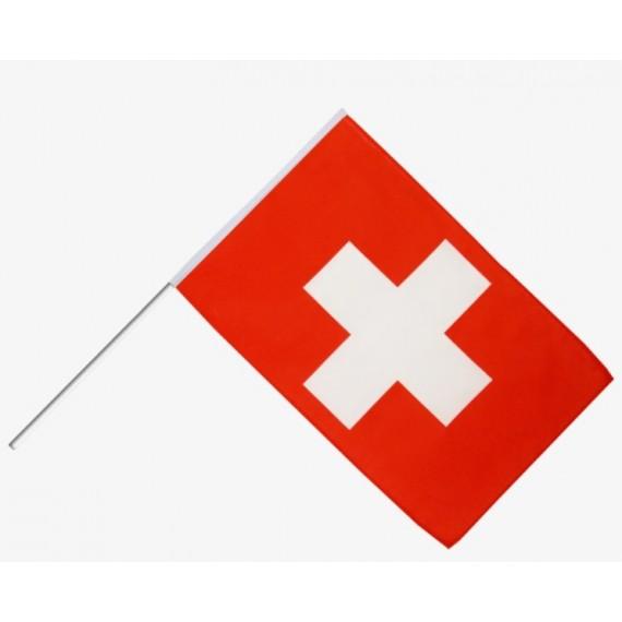 'Bandera de Suiza de Plástico de 20 x 30 Centímetros con Palo