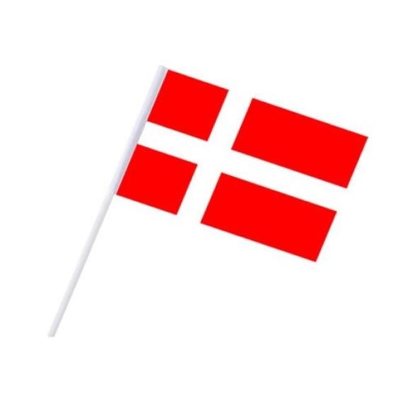 Bandera de Dinamarca de Plástico de 20 x 30 Centímetros con Palo