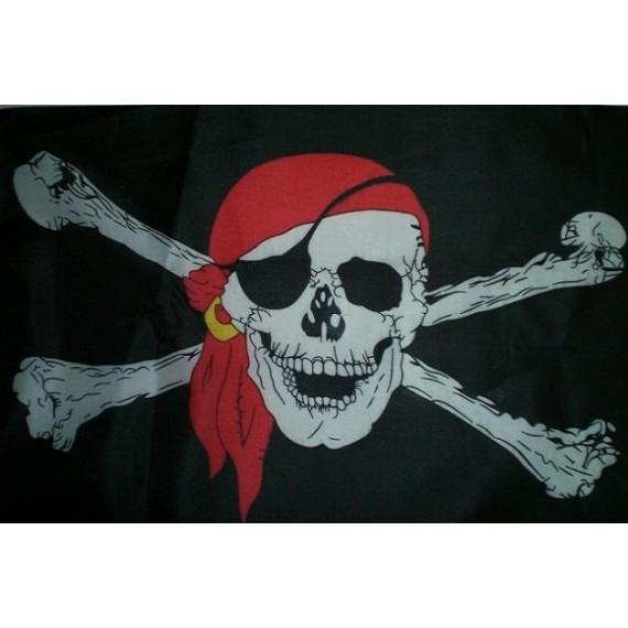 Bandera de Pirata con Pañuelo de 90 x 150 Centímetros de Poliéster para Interior