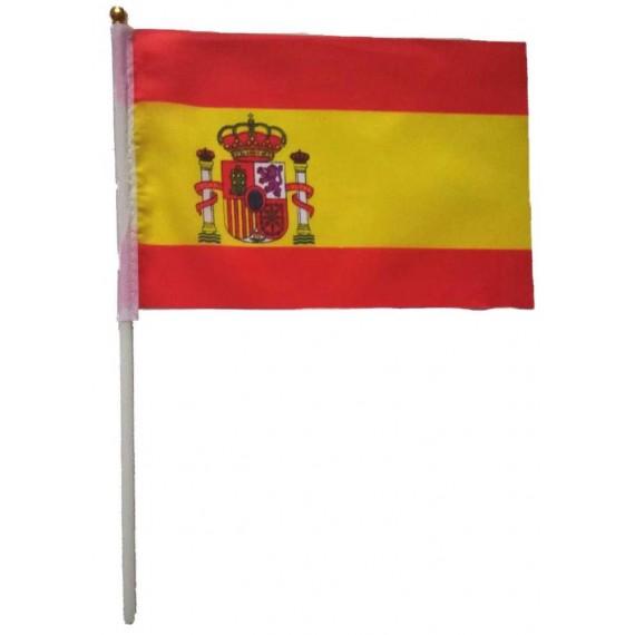 Bandera de España de Poliéster de 20 x 30 Centímetros con Palo
