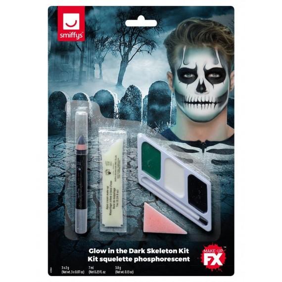 Kit de Maquillaje de Esqueleto Fluorescente para Adulto