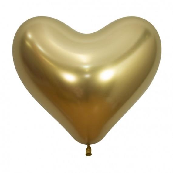 .Globo Látex de Corazón de 35 Centímetros 50 Unidades acabado Reflex de Sempertex