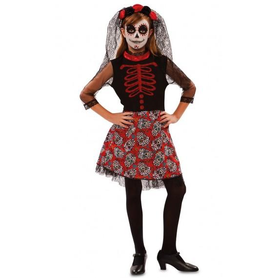 Disfraz de Catrina del Día de los Muertos Mexicano Infantil