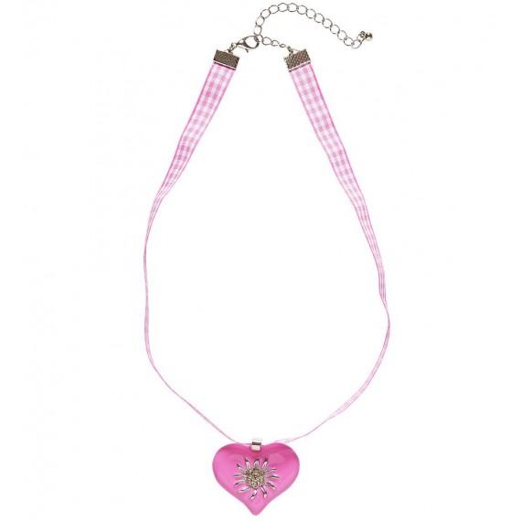 Collar de Corazón Rosa con Edelweiss Strass para Adulto