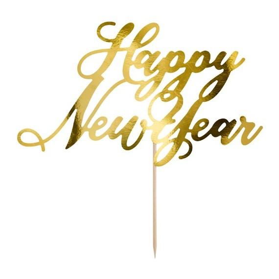 Cartel de Happy New Year de color Oro de 24 Centímetros