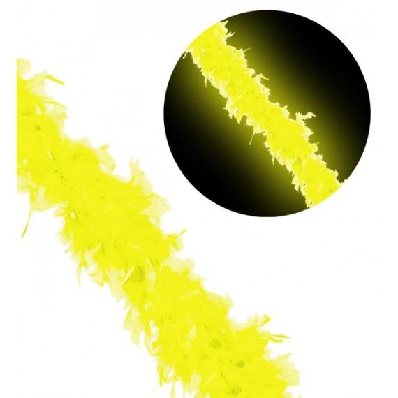 Boa de Plumas de color Amarillo Fluorescente de 1,80 Metros y 50 Gramos