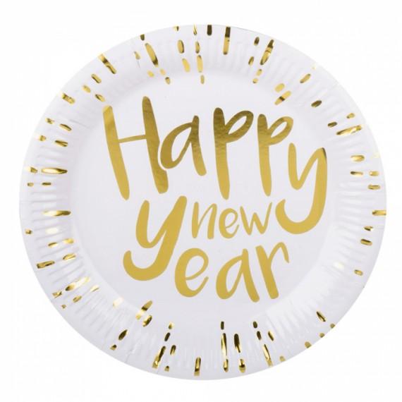 Plato de Happy New Year 6 Unidades de 23 Centímetros