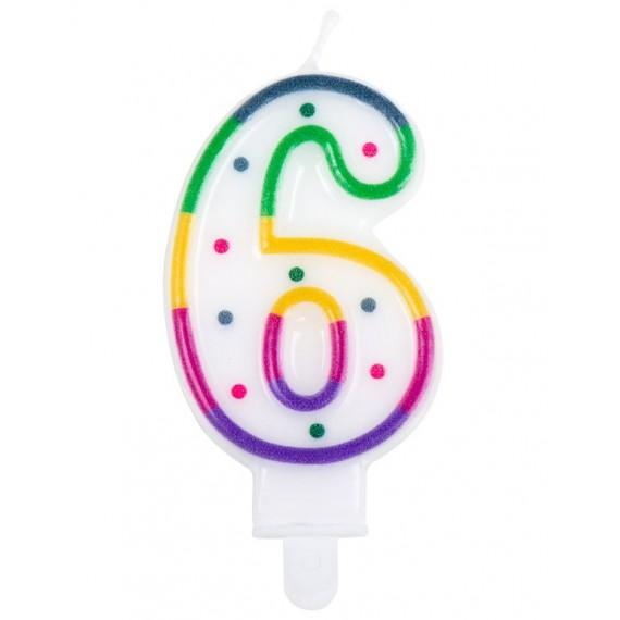 Vela Cumpleaños de Número 6 Multicolor