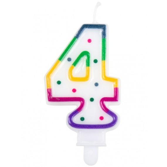 Vela Cumpleaños de Número 4 Multicolor
