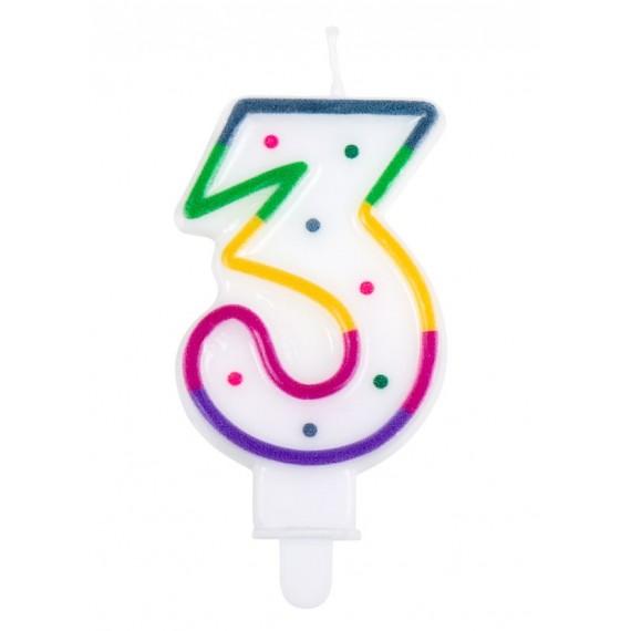 Vela Cumpleaños de Número 3 Multicolor