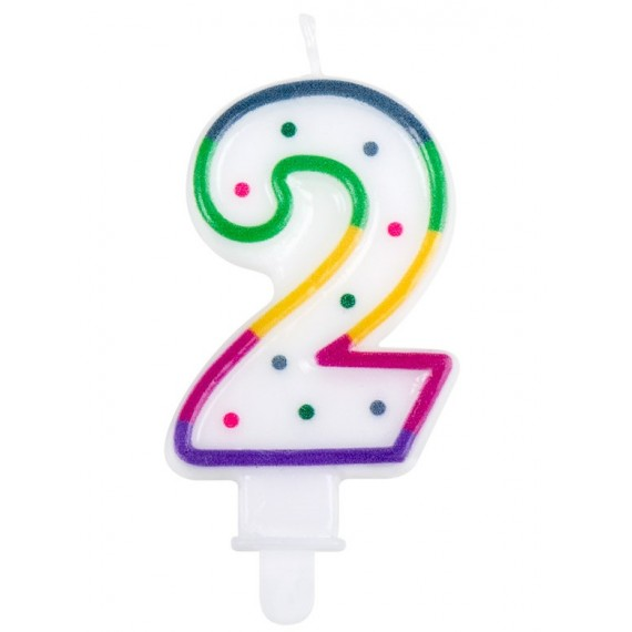 Vela Cumpleaños de Número 2 Multicolor