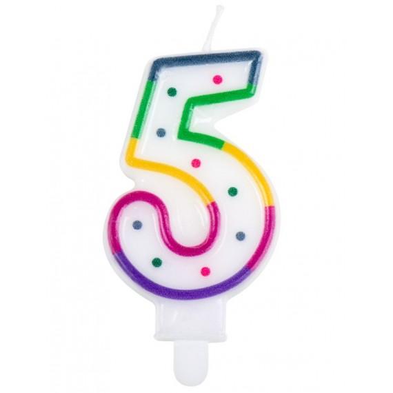 Vela Cumpleaños de Número 5 Multicolor
