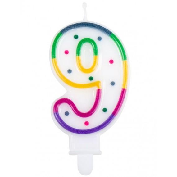 Vela Cumpleaños de Número 9 Multicolor