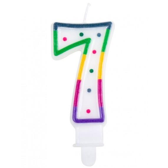 Vela Cumpleaños de Número 7 Multicolor