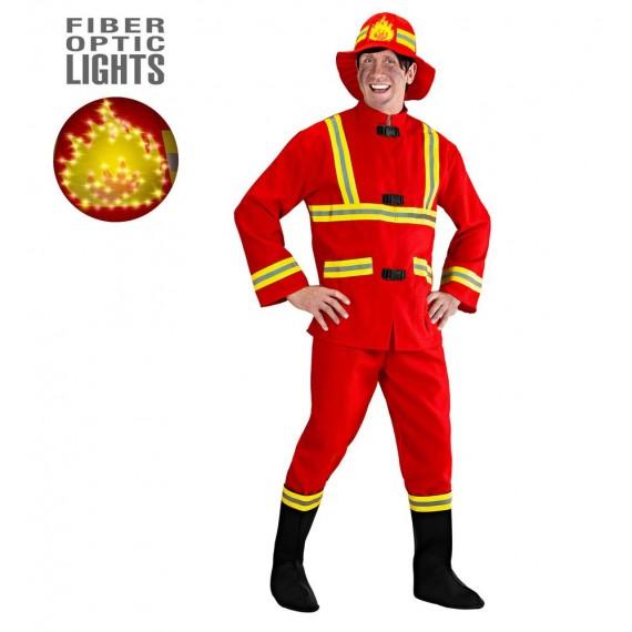 Disfraz de Bombero de color Rojo para Adulto