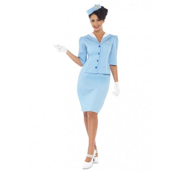 Disfraz de Azafata de Vuelo de color Azul para Adulto