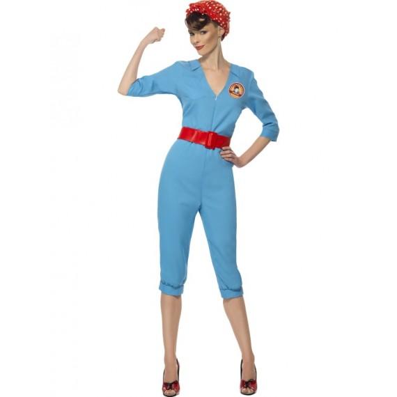 Disfraz de Chica de Fábrica de los años 40s para Adulto