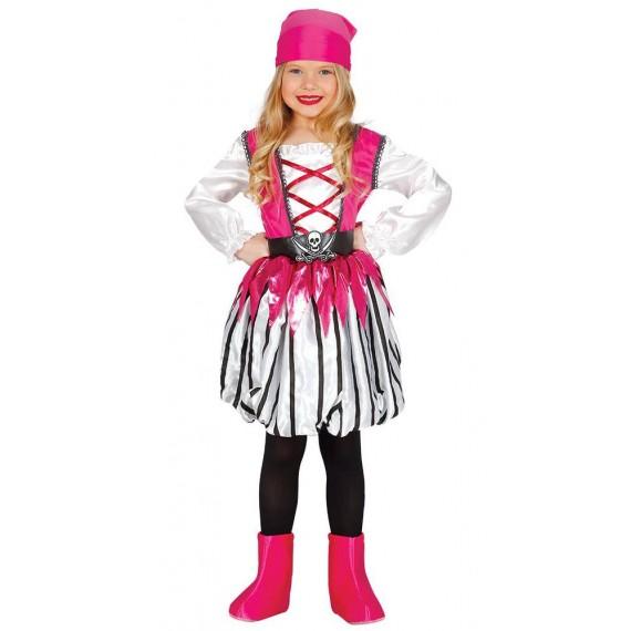 Disfraz de Niña Pirata de color Rosa Infantil