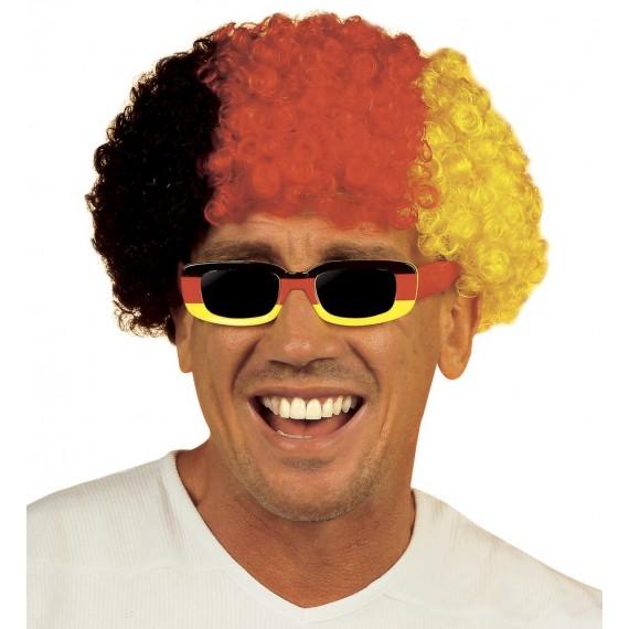 .Peluca Negra, Roja y Amarilla de Alemania para Adulto