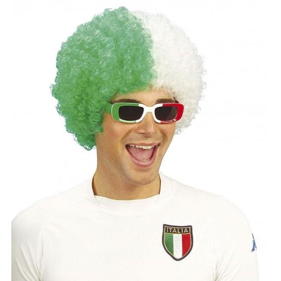 Peluca Verde y Blanca de Italia para Adulto