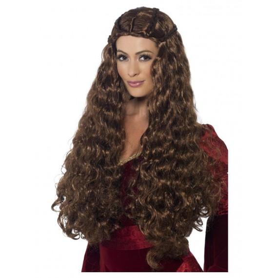 Peluca Castaña de Princesa Medieval para Adulto