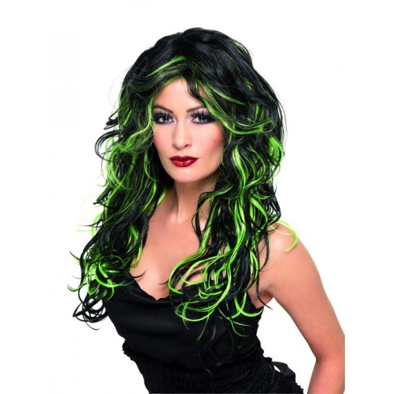 Peluca Negra con Mechas Verdes de Novia Gótica para Adulto