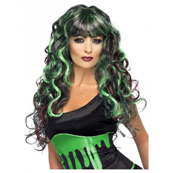 Peluca Negra con Mechas de color Verde para Adulto