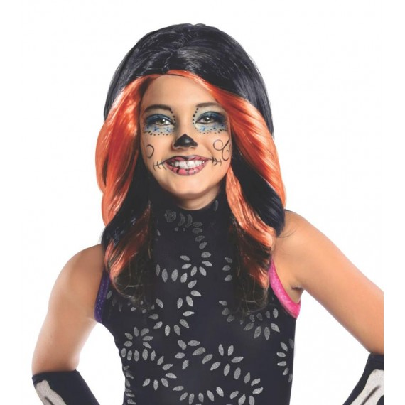 Peluca Negra de Skelita Calaveras de Monster High Infantil