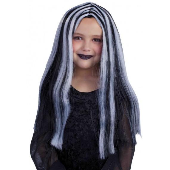 Peluca Negra de Brujita con Mechas Blancas Infantil