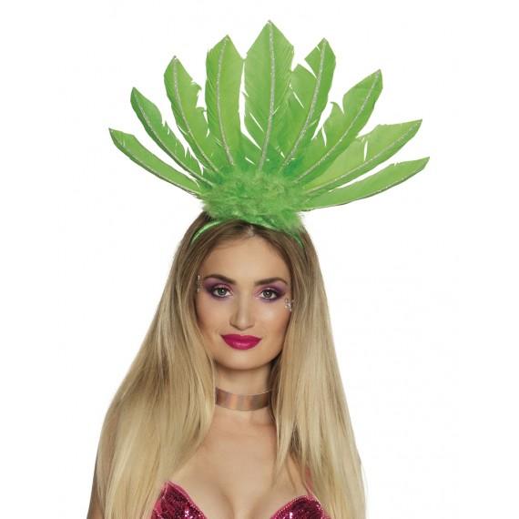 Diadema de Samba con Plumas de color Verde para Adulto