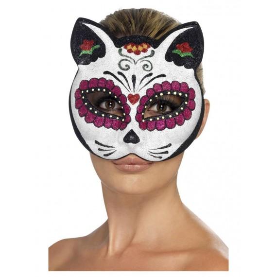 Antifaz de Gato Esqueleto del Día de los Muertos Mexicano para Adulto