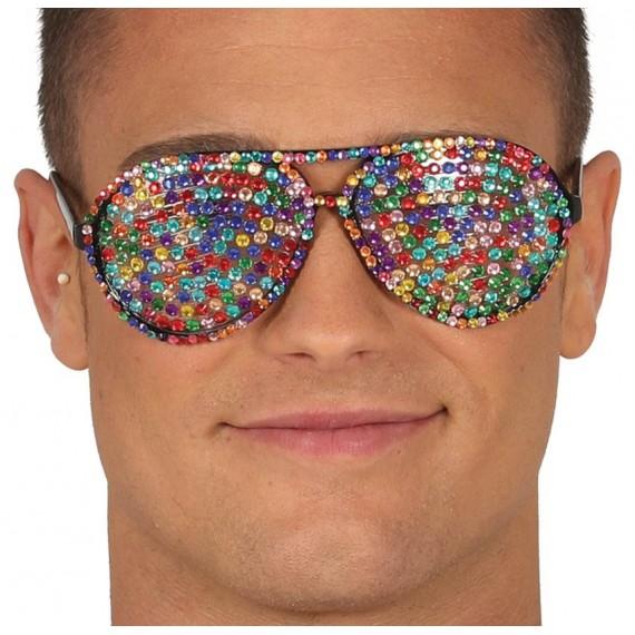 .Gafas con Brillantes Multicolor para Adulto