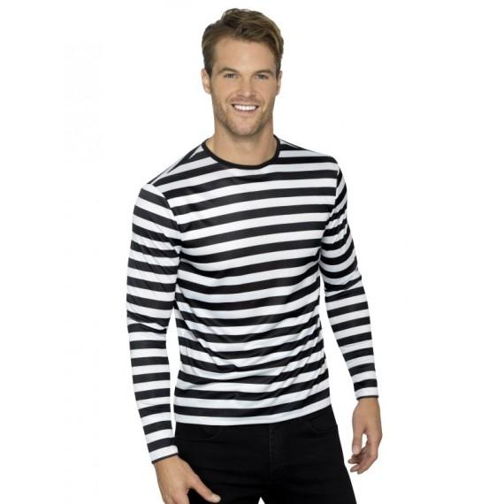Camiseta con Rayas de color Blanco y Negro para Adulto