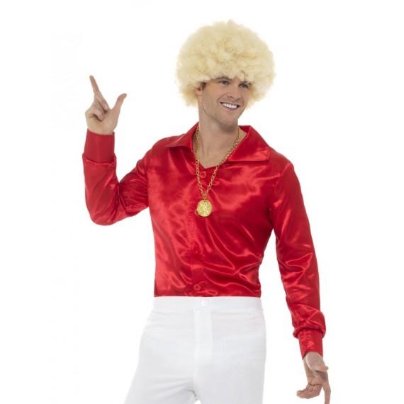 Camisa de los años 60s de color Rojo para Adulto