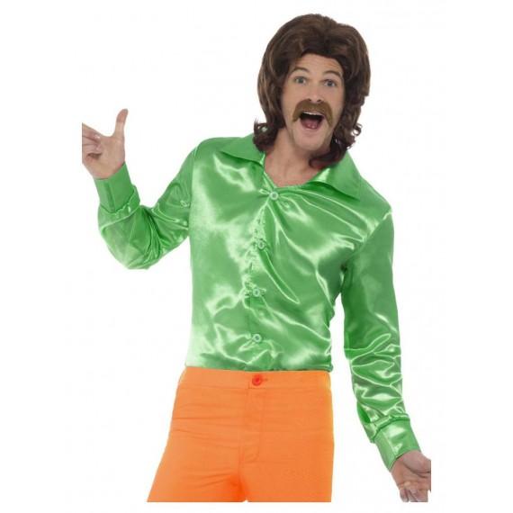 Camisa de los años 60s de color Verde para Adulto