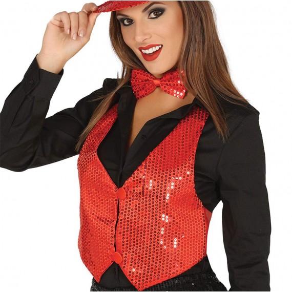 Chaleco de Lentejuelas de color Rojo para Adulto