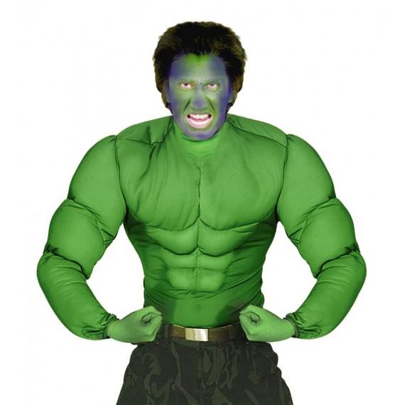 Camisa de Hulk con Músculos de color Verde para Adulto