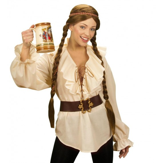 Camisa de Chica Pirata o Renacentista de color Beige para Adulto