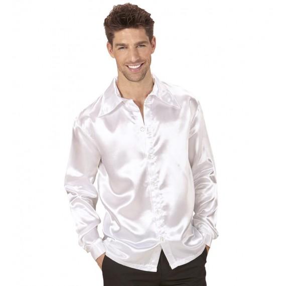 Camisa de Disco de los años 70s de color Blanco para Adulto