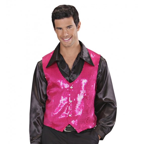 Chaleco de Lentejuelas de color Rosa para Adulto