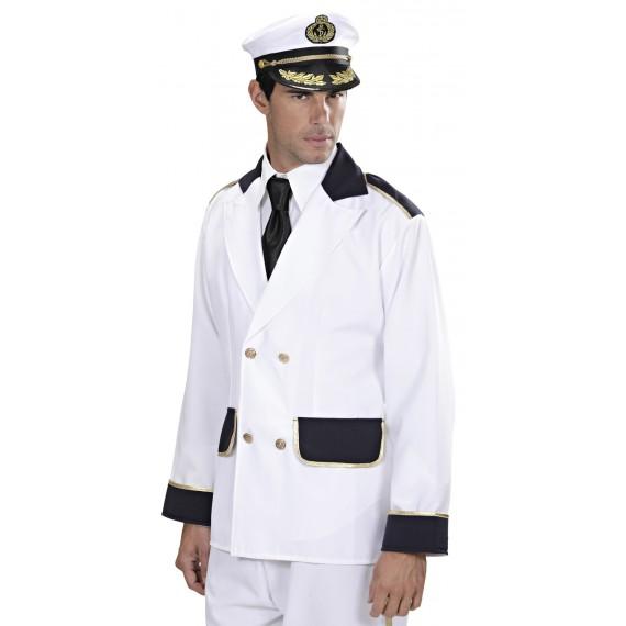 Chaqueta de Capitán de Barco de color Blanco para Adulto