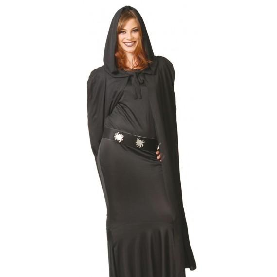 Capa con Capucha de color Negro de 135 Centímetros para Adulto