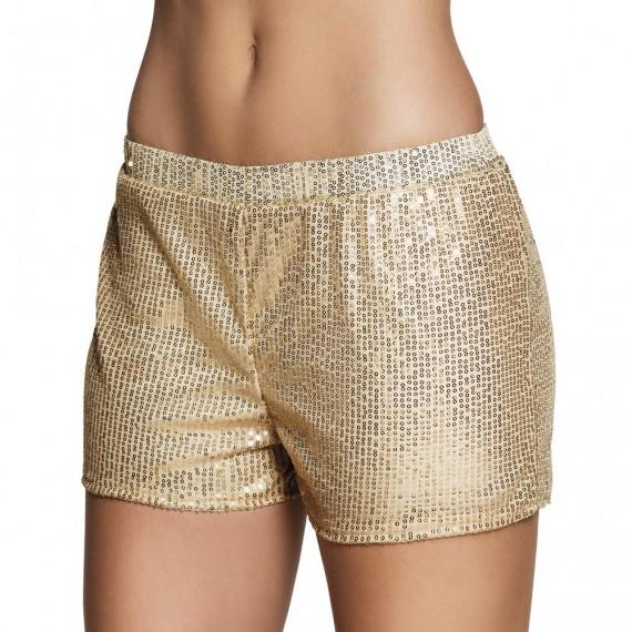 Pantalón Corto de Lentejuelas de color Oro para Adulto