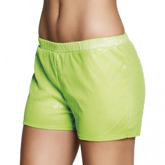 Pantalón Corto de Lentejuelas de color Verde para Adulto