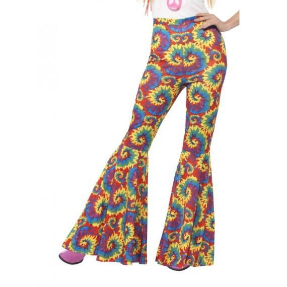Pantalón Acampanado de Hippie Multicolor para Adulto